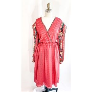 80s dress, chiffon, red houndstooth, large floral